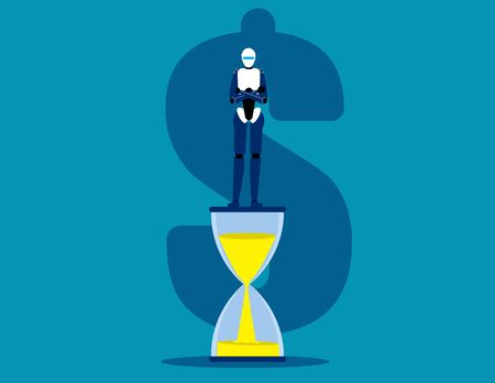 Robot standing on hourglass . Time is money concept. Management and Control
