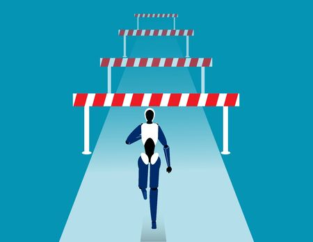 Robot face front of many obstacles. Barriers on the way to success concept. Flat vector cartoon style Illustration