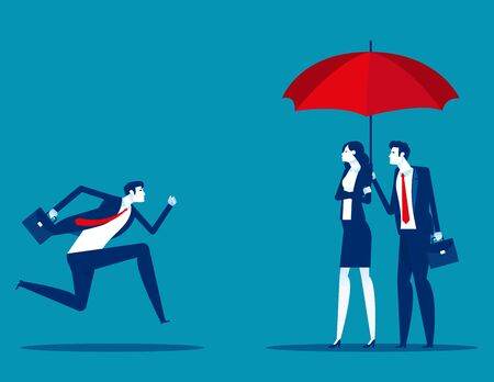 Employee runs into umbrellar seeking protection Illusztráció