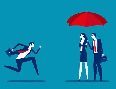 Employee runs into umbrellar seeking protection Illustration