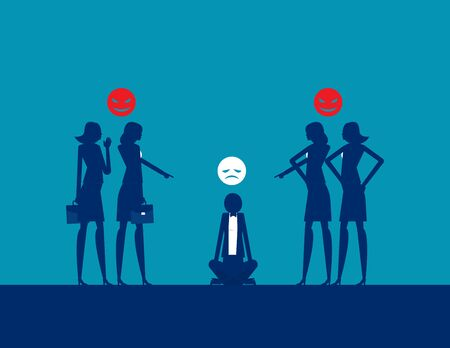 Bullying and harassment. Colleagues and Workplace. Silhouette flat vector illustration Иллюстрация