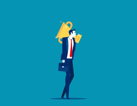 Businessman carry big trophy cup for winner. Business successful vector illustration concept