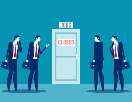People talking about business closure. Team fired from job due economy crisis