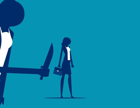 Businesswoman being stabbed in the back. Silhouette vector illustration design.