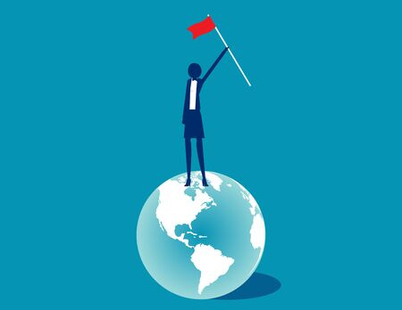 Business flag on the earth. The Global business successful concept