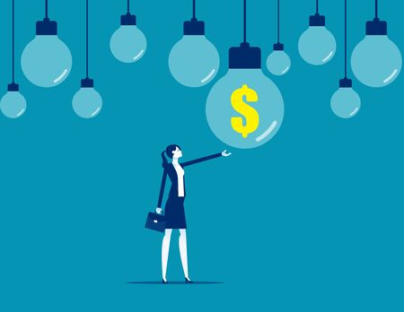 Finding a hanging finance idea light bulb with dollar sign. Financial and economic concept