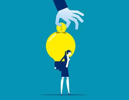 Invention idea into money. Business big idea light bul