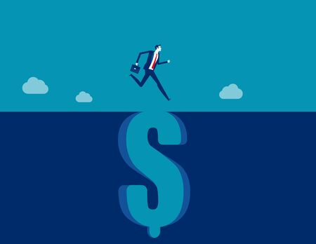 Jumping through falling dollar sign gap. Business financial concept