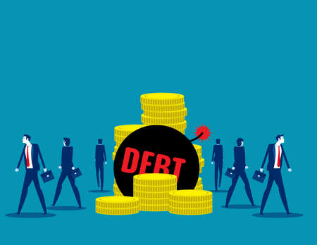 People walk away from debt. Business finance and economy concept