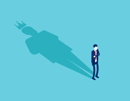 Businessman with King shadow. Ambition and success concept Ilustracja