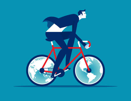 A woman ride a bicycle with globes for wheels