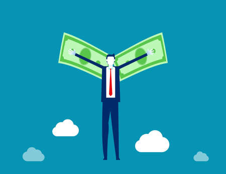 Flying with money wings. Business financial concept, Flat cartoon vector illustration style Ilustracja