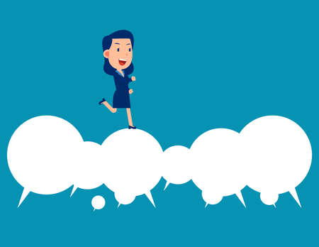 Business happy person running over speech bubble