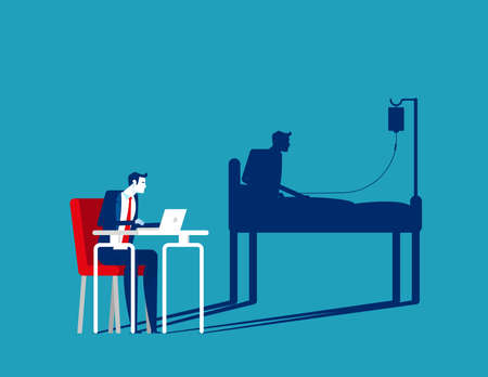 Businessman office working and health shadow. Hardwork concept
