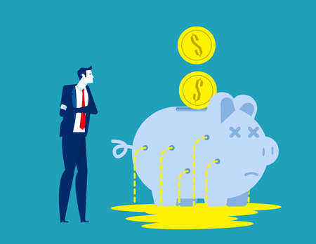 Business person with leaking piggy bank. Business financial vector