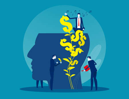 Business team water the plants money think for growth mindset