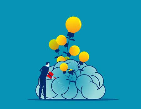 Businessman water the plants big brain for growth mindset 矢量图像