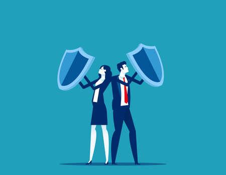 Team holding shields against business. Teamwork unity