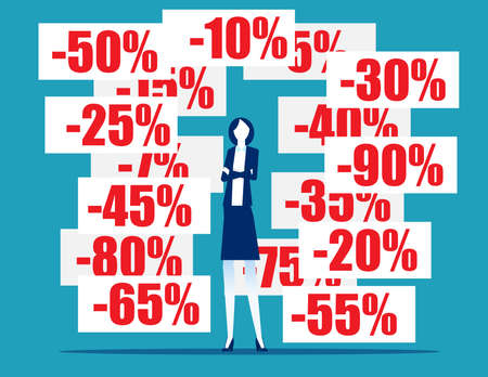 Businesswoman with discount pricing labels. Finance and economy