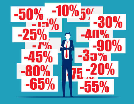 Businessman with discount pricing labels. Finance and economy Çizim