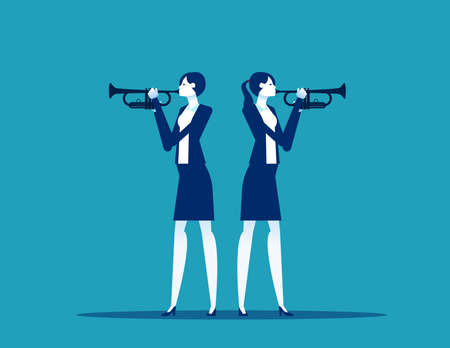 Business two people trumpet player. Musician stock illustration Stok Fotoğraf - 159460498