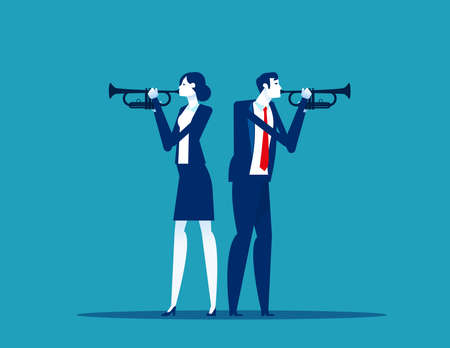 Business two people trumpet player. Musician stock illustration
