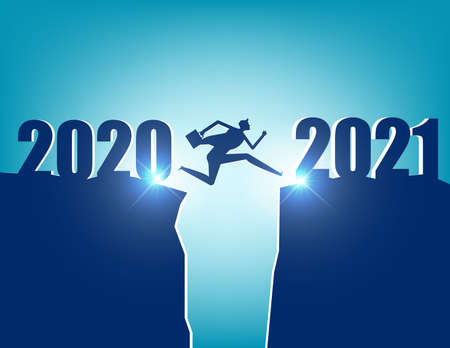 A business person jumping to new year 2021