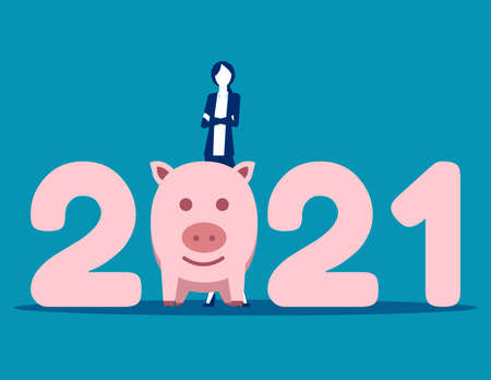 Stand by number 2021. Money saving in 2021 Stok Fotoğraf - 159583996