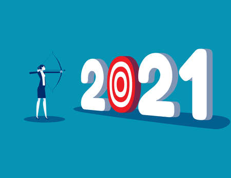 A businesswoman aiming at number 2021. The goal of year Çizim