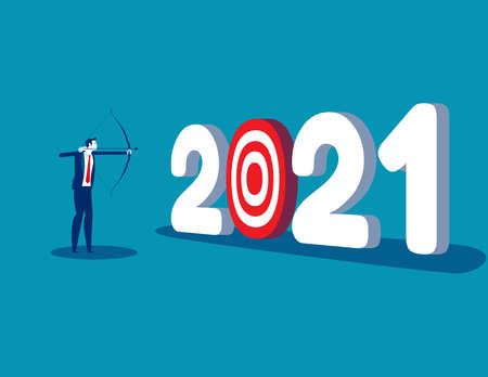A businessman aiming at number 2021. The goal of year