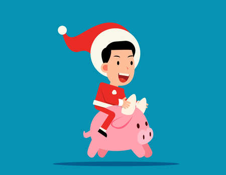 Cute santa claus ride little Ox. The Ox of the Year