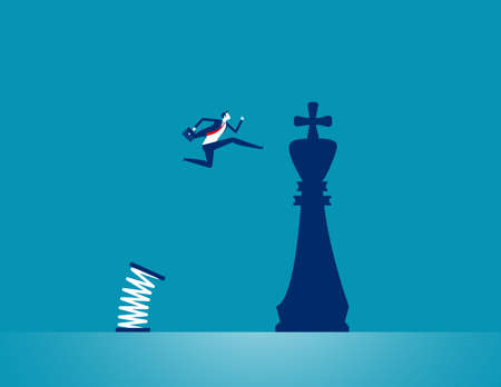 A person jumping to chess piece king. Strategy business Çizim