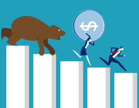 Carrying money run away from bear market. Stock market and exchange Çizim