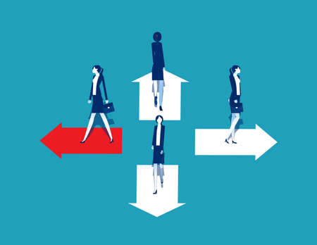 Business goals.Trend and movement to success, People standing on arrow different direction