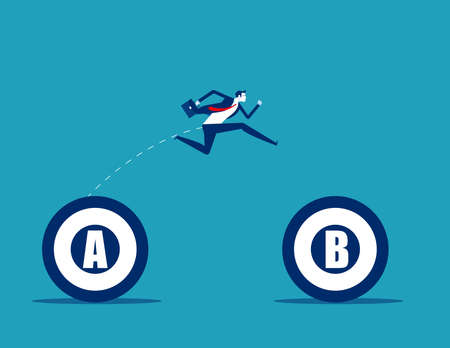 Businessman jumping from A to B target. Business planning
