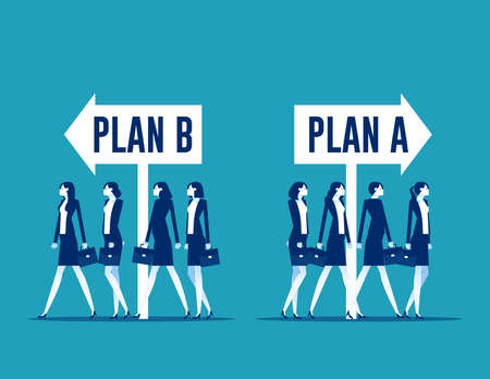 Business team choosing with plan A or plan B direction. Business strategy and planning Ilustrace