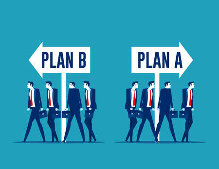 Business team choosing with plan A or plan B direction. Business strategy and planning Çizim