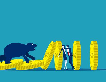 Business person with bear market. Stop economic crisis