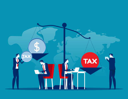 Business people put heavy tax and money weight on huge scale. Financial bankruptcy. Business taxation concept