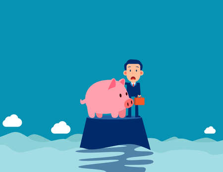 A businessman on the island with piggy bank