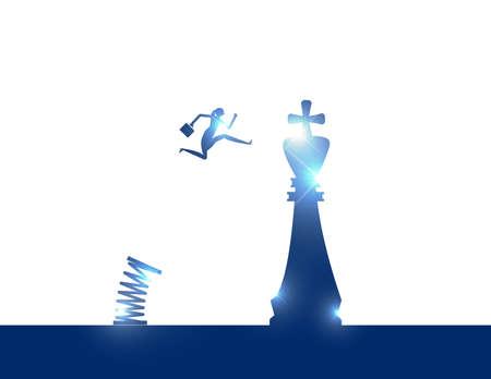A person jumping to chess piece king. Strategy business Ilustrace