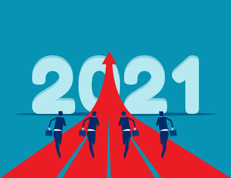 People running to 2021. Start up a new to goal