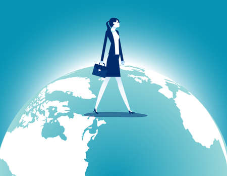 Businesswoman walking over terrestrial globe. Investment and Traveling