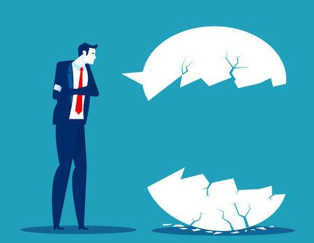 Businessman failed communication. Broken speech chart message