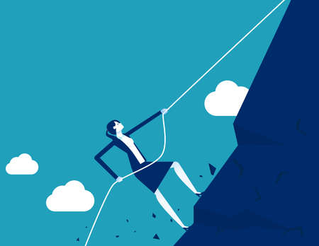 Strong businesswoman making effort. Climbing mountain with rope and achieving goals Ilustrace