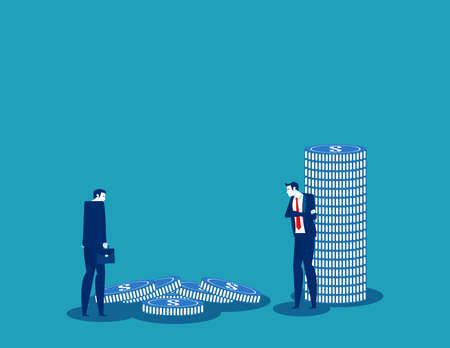 Business team looking at the pile of coins that fell. Balance concept