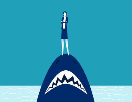 Businesswoman standing on shark mouth. Stand on danger