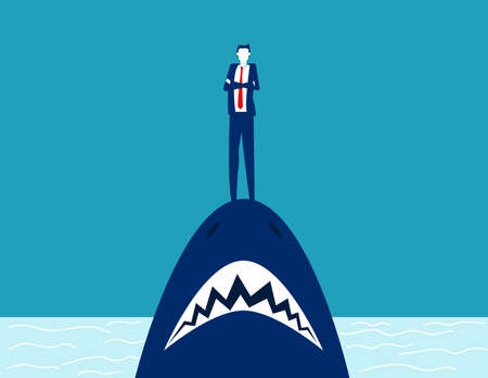 Businessman standing on shark mouth. Stand on danger