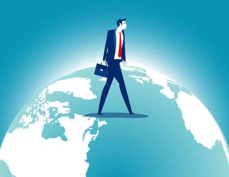 Businessman walking over terrestrial globe. Investment and Traveling Ilustrace