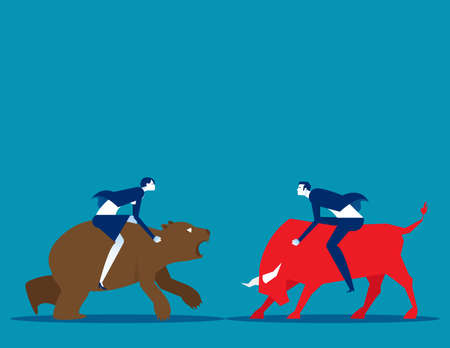 Business people with bull and bear market. Stock market and exchange